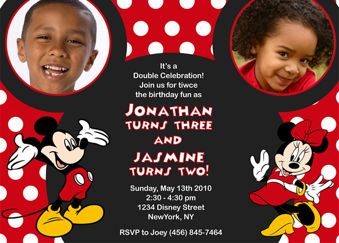 Mickey and Minnie Mouse Custom Birthday Invitation Flickr