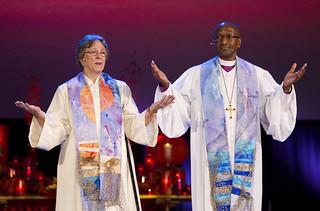 Bishops Kiesey and Matthews give the benediction | by United Methodist News Service