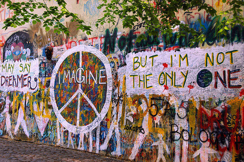 Colorful Dreamer Imagine John Lennon Peace Quote Favim
