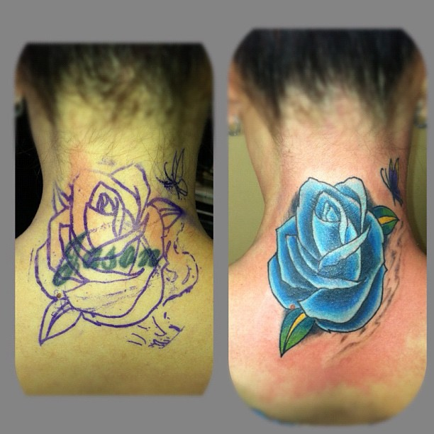 Goodbye Jose Coverup Tattoo Rose Butterfly Name Ta Flickr