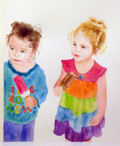 watercolor portrait of my nieces | by adine.rotman