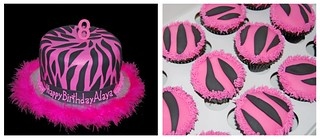 8th birthday pink and black zebra print cake and cupcakes | by Sweet Shoppe Mom and Simply Sweets