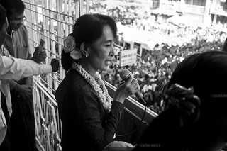 Aung San Suu Kyi speaks to a crowd of thousands in Rangoon | by ENIGMA IMAGES