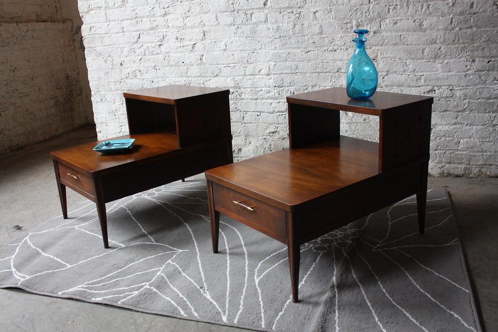 handsome broyhill saga mid century modern end tables mint 1960u0027s by kennyk