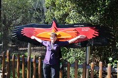 Nadine with Bird Wingspan Sign