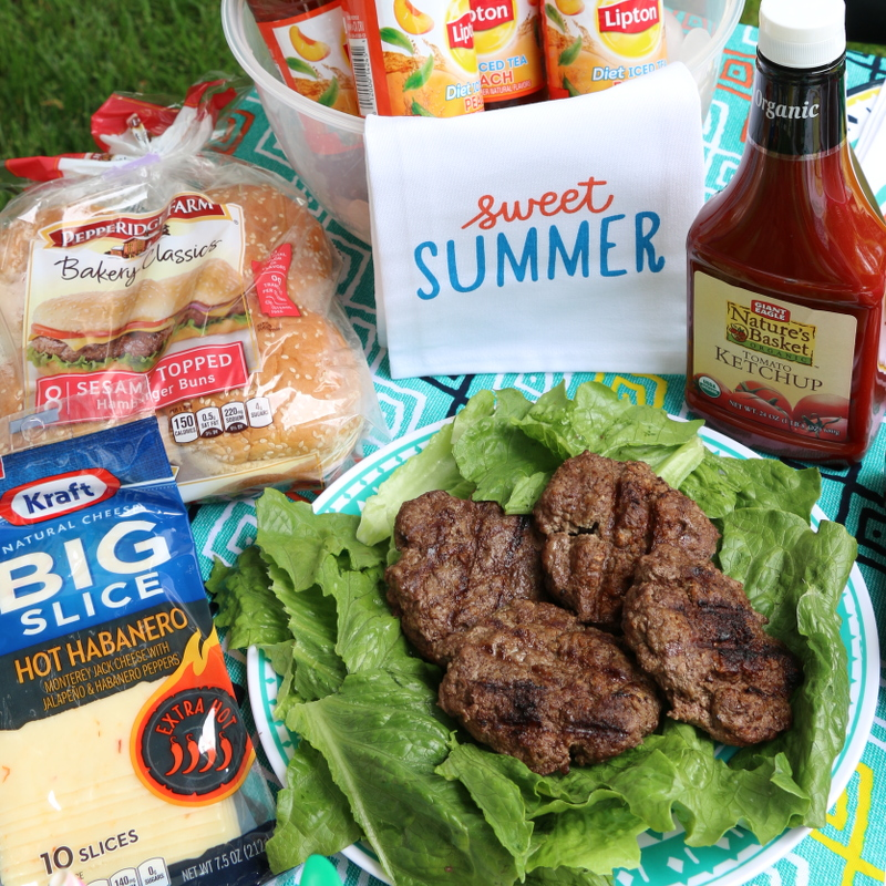 Kraft natural cheese, Pepperidge Farm buns, burgers, Natures Basket organic ketchup