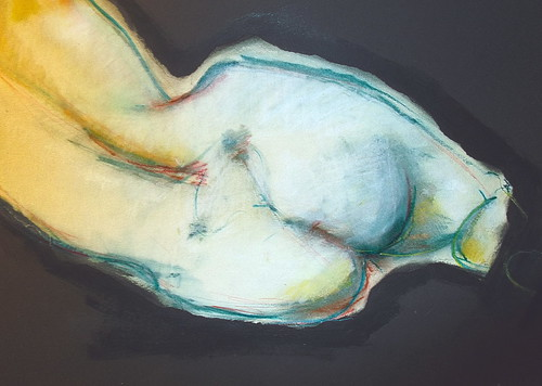 Nude study: oil pastel and white spirit wash on paper | by Helen Nock (www.helen-nock.co.uk)