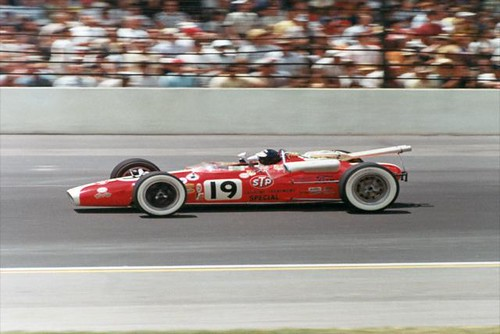 Jim Clark on track at IMS in 1966 | by indianapolismotorspeedway.com