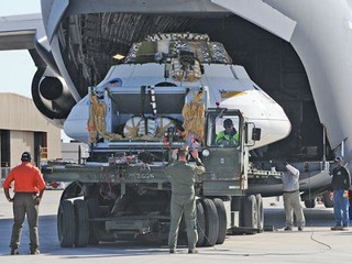 Orion CPAS drop test vehicle loaded onto Edwards AFB C-17 | by MultiplyLeadership