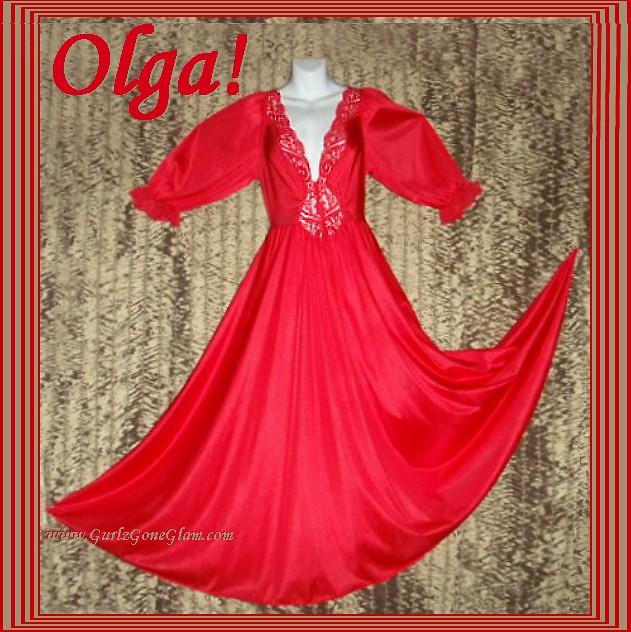 Olga Nightgown Long Sleeve Formfit Red Huge Sweep! Sz Medi…   Flickr