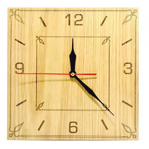 Đồng hồ gỗ hình vuông - hoa văn số 3