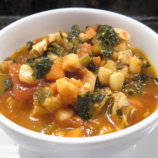 Hominy, Chicken and Kale Stew | by katbaro
