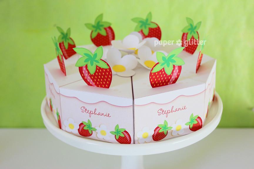 26 Paper Strawberry Shortcake Summer Party Cake Rainbow