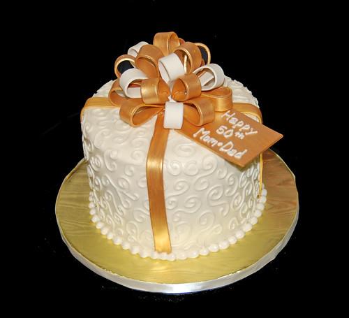 Gold And Cream 50th Wedding Anniversary Cake Dana Brown