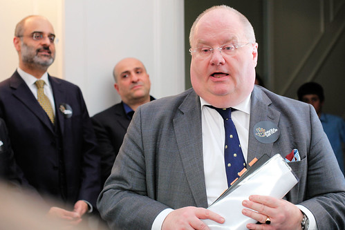 Eric Pickles speaking to volunteers | by Ministry of Housing, Communities and Local Govt