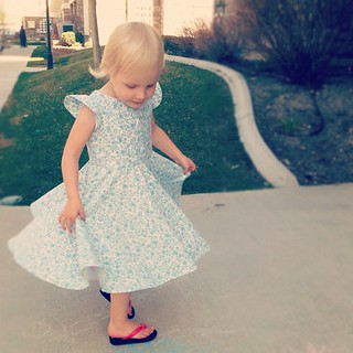 Twirling. I did not wake up this morning with plans to draft a new pattern... But the muslin turned out so great I think she is wearing this on Easter. Yay! | by pinksuedeshoe