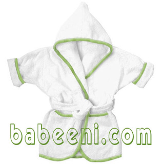 Baby bathrobe with white cotton fabric SW 102 | by Babeeni Smocked Dress