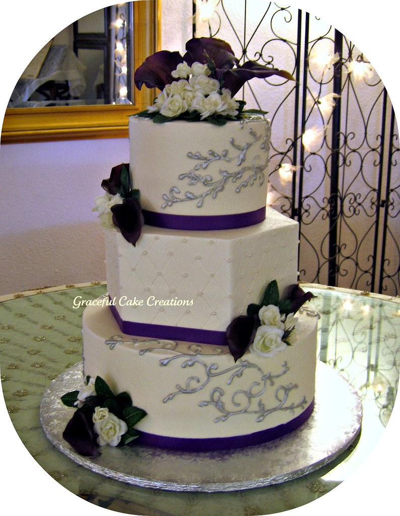 Ivory, Purple and Silver Wedding Cake | Grace Tari | Flickr