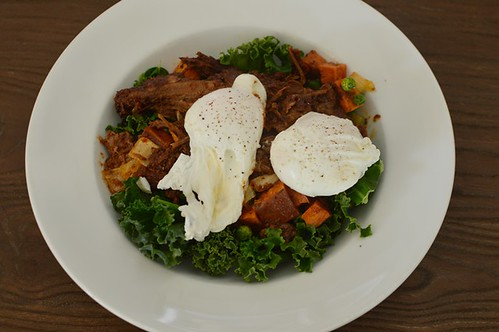 Beef brisket and sweet potato hash