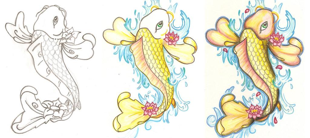 Pez Koi Boceto Para Un Tatuaje Inpirado En Art Nouveau Flickr
