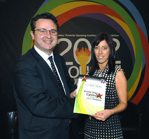 Huw Lewis AM with Rising Stars Cymru winner Clare Way (1) | by CIH housing