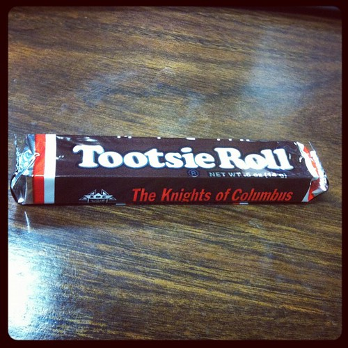 Cool. Someone brought in a box of Knights of Columbus Tootsie Rolls. | by programwitch