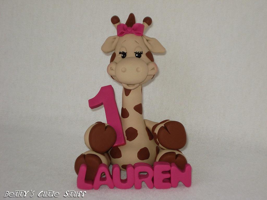 giraffe birthday cake topper polymer clay figurine colle flickr