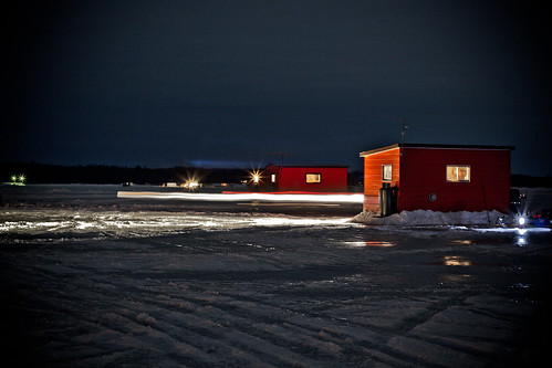 Ice fishing huts at night paul schembri flickr for Ice fishing at night