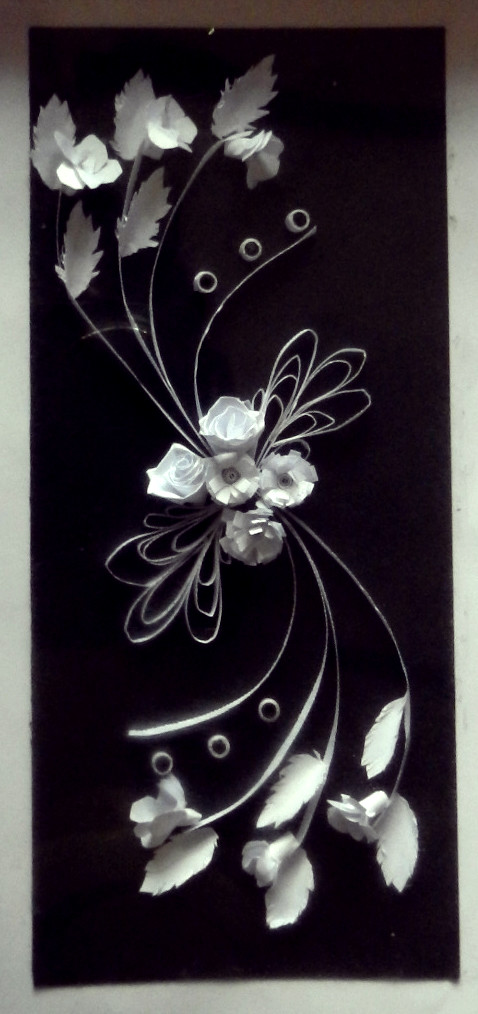 Quilled flowers black white quilled pattern by chrispriya