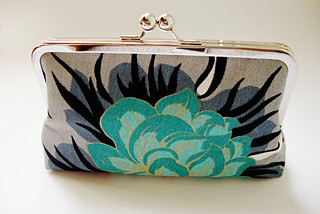 Teal & Turquoise Peony Kisslock Clutch Handbag- Silk LinedFrom MyPatternedMind | by My Patterned Mind