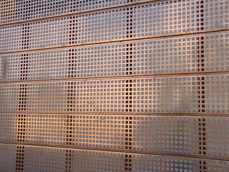 Perforated Copper Panels Close Up Punched By Action Shee
