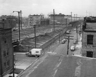 The Pennsylvania Railroad's Harsimus Stem Embankment which people are now trying to save as a linear park looked mercilessly bleak in 1951. Looking west at 6th Street. Jersey City. | by wavz13