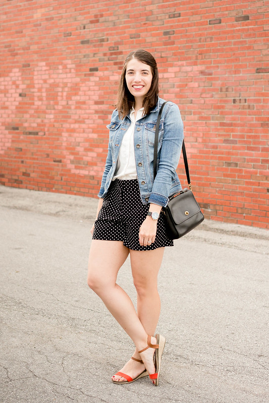 polka dot shorts + white blouse + denim jacket + black coach vintage purse; casual summer outfit | Style On Target