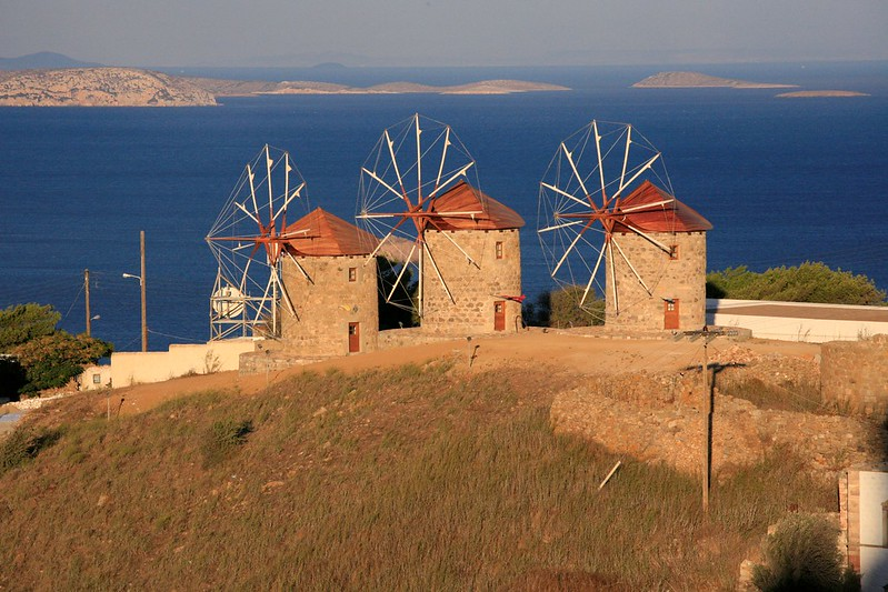 Windmills of the Monastery of St John the Theologian, Chora, Patmos, GREECE