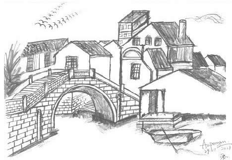 Aupoman scenery drawing traditional towns southeast china What s it like to live in a small town