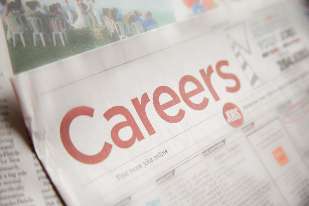 Careers headline on newspaper