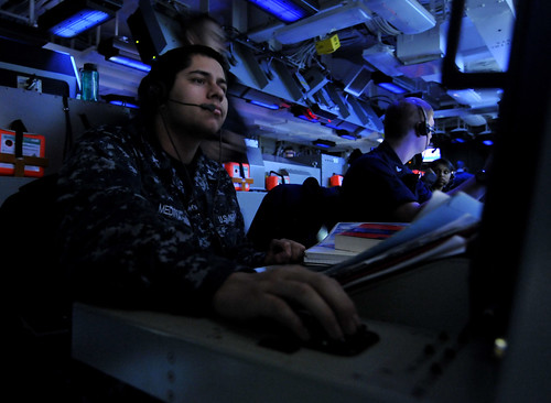 A Sailor monitors a Sea Sparrow missile console. | by Official U.S. Navy Imagery