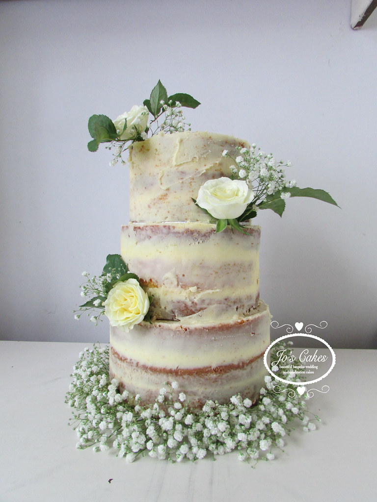 Three Tier Semi Naked Wedding Cake With Fresh Roses And Ba Flickr