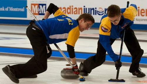 Napanee, ON Feb 12 2011 M&M Canadian Juniors Team Alberta Second Landon Bucholz, Lead Bryce Bucholz. Michael Burns Photo Ltd. | by seasonofchampions