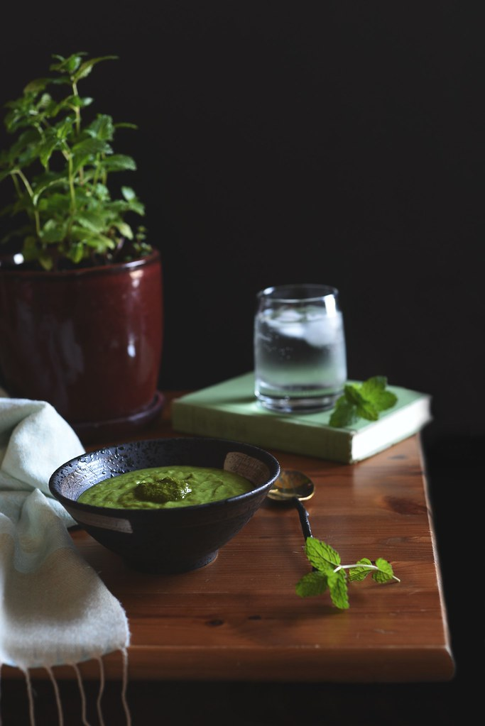 summer greens vichyssoise + spicy mint sauce