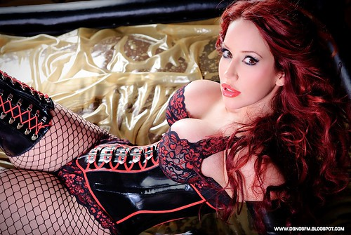 bianca beauchamp latex fetish costume steampunk cosplay lace corset black tights skirt redhead actress model huge giant boobs breasts busty sexy wallpaper | by Monsters and Tentacles