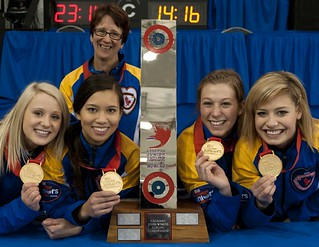 Napanee, ON Feb 11 2011 M&M Canadian Juniors Team Alberta Left to Right Jocelyn Peterman, Brittany Tran, Rebecca Konschuh, Kristine Anderson. Top Nancy McInerney Michael Burns Photo Ltd. | by seasonofchampions