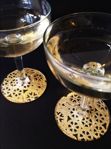 10 Gilded Lace Champagne Glasses | by fabricpaperglue