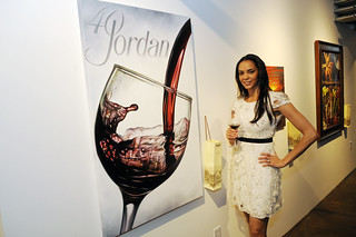 "Dawn Neufeld, a star on VH1′s ""Football Housewives"" - a judge at Jordan Winery's 4 on 4 Dallas Art Competition Hosted by D Magazine at Rising Gallery 