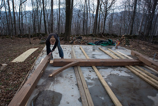 Tyler Assembling First Bent for Cottage Timber Frame | by goingslowly