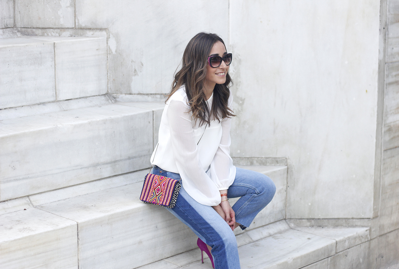 Boyfriend Jeans With Asymmetrical Hems white blouse carolina herrera heels daydaday bag outfit style streetstyle07