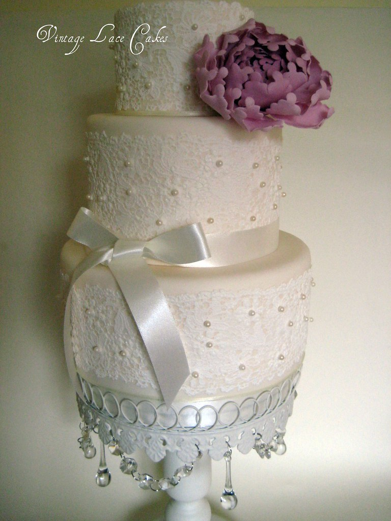 lace and pearl wedding cake This is for an upcoming weddin Flickr