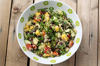 Sprouted Quinoa Salad with Mango, Black Beans and Avocado - Gluten-free + Vegan | by Tasty Yummies