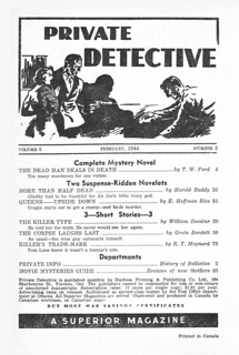168a2 Private Detective Stories (Canada) Feb-1944 Page 02 Contents Includes Queens — Upside Down by E. Hoffmann Price as by E. Hoffman Rice | by CthulhuWho1 (Will Hart)