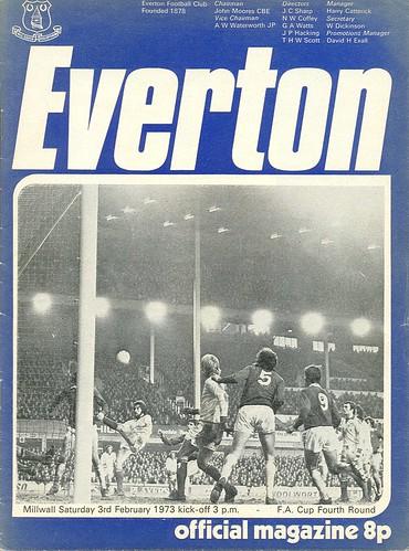 Everton V Millwall 1972 73 Fa Cup 3rd February 1973 Fa